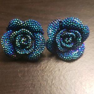 Blue/black rose earrings